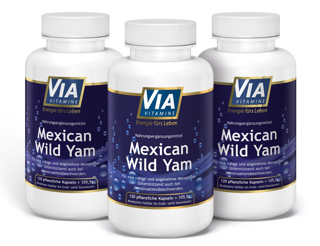 3er Sparpack Mexican Wild Yam, 750mg pro Kapsel, KEIN Extrakt